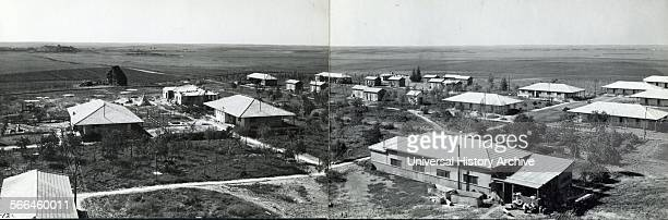 Photograph of Kibbutz Gat founded by Jewish immigrants from Poland Yugoslavia and Austria Dated 1940