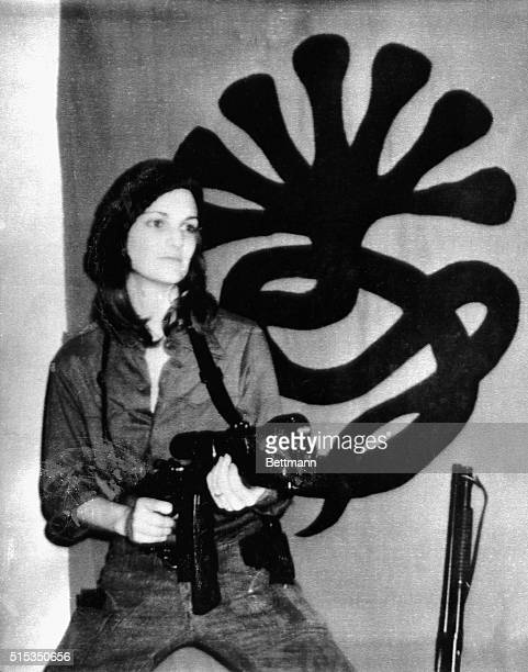 Photograph of kidnapping victim Patricia Hearst sent by her kidnappers, the Symbionese Liberation Army, to a Berkeley radio station along with a tape...