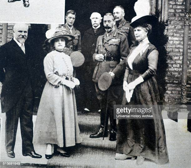 Photograph of King George V and Queen Mary of Teck at the British Officers' Club With them are President and Mme Poincare HRH the Prince of Wales Sir...