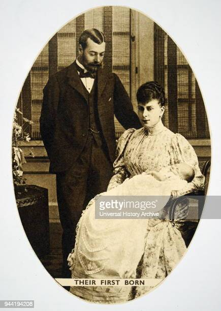 Photograph of King George V and Queen Mary of Teck with their first child HM Edward VIII King George V King of the United Kingdom and the British...