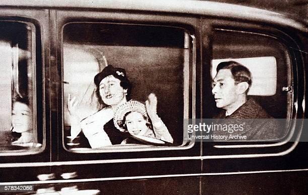 Photograph of King George VI Queen Elizabeth Queen Mother Princess Elizabeth and Princess Margaret leaving for their Christmas break in Sandringham...