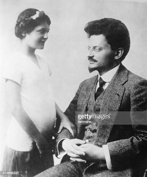 Photograph of Leon Trotsky and one of his daughters