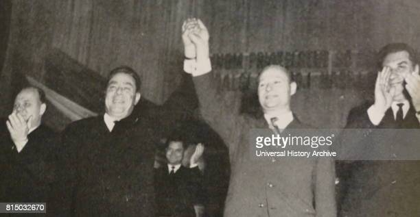 Photograph of Leonid Brezhnev the General Secretary of the Central Committee of the Communist Party of the Soviet Union with Alexander Dubcek a...