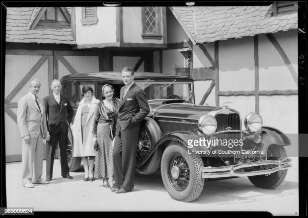 Photograph of Lincoln automobile Constance Cummings John Wayne woman and men Southern California 1931