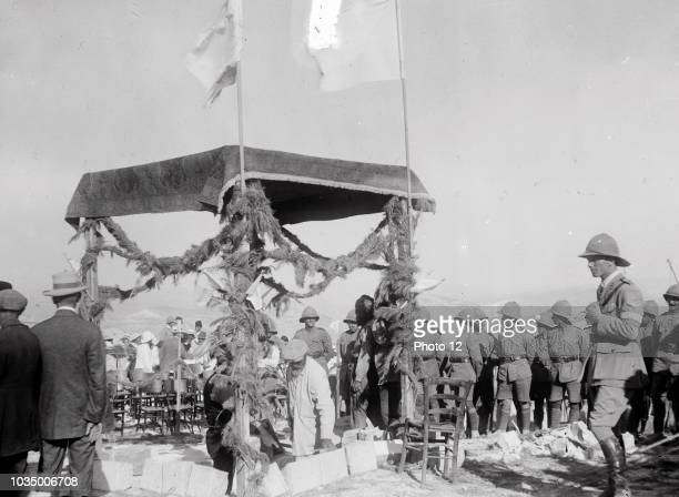 Photograph of Lord Balfour's visit to The Hebrew University laying the foundation stone of Hebrew University Dated 1918