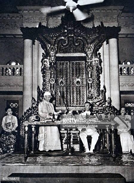 Photograph of Louis Mountbatten 1st Earl of Mountbatten of Burma and President Thakin Nu in Burma Dated 20th Century