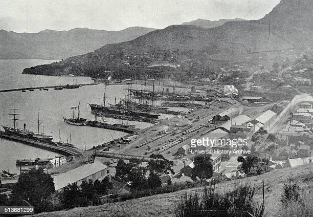 Photograph of Lyttelton Harbour one of two major inlets in Banks Peninsula on the coast of Canterbury New Zealand Dated 1900