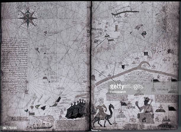 A Photograph of Mansa Musa King of Mali on a map of North Africa circa 1375