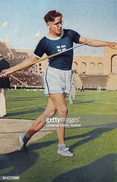Photograph of Matti Jarvinen competing in the Javelin throw during the 1932 Olympic games. From 1930 to 1936 Matti managed to break the javelin world...