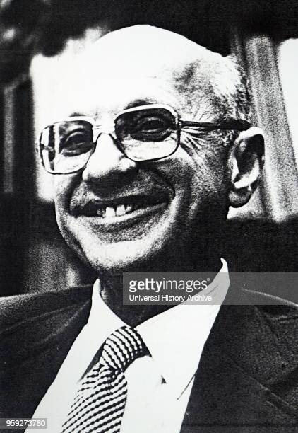 Photograph of Milton Friedman an American economist and winner of a Nobel Memorial Prize in Economic Sciences. Dated 20th century.