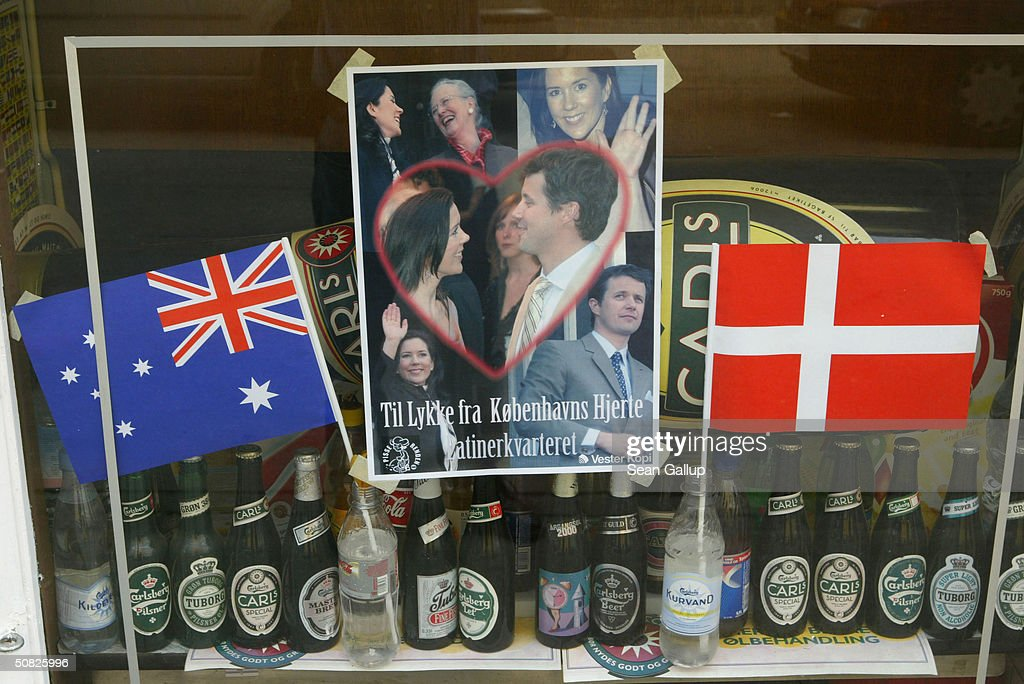 A photograph of Miss Mary Elizabeth Donaldson and Danish Crown Prince Frederik is displayed among beer bottles and Danish and Australian flags on May 11, 2004 in a shop window in Copenhagen, Denmark. Crown Prince Frederik and Donaldson are scheduled to be married on May 14th.