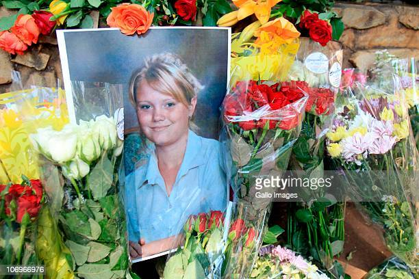 Photograph of murdered Anika Smit is displayed at a wreath laying ceremony in her honour on March 12, 2010 in Pretoria, South Africa. Solidarity's...