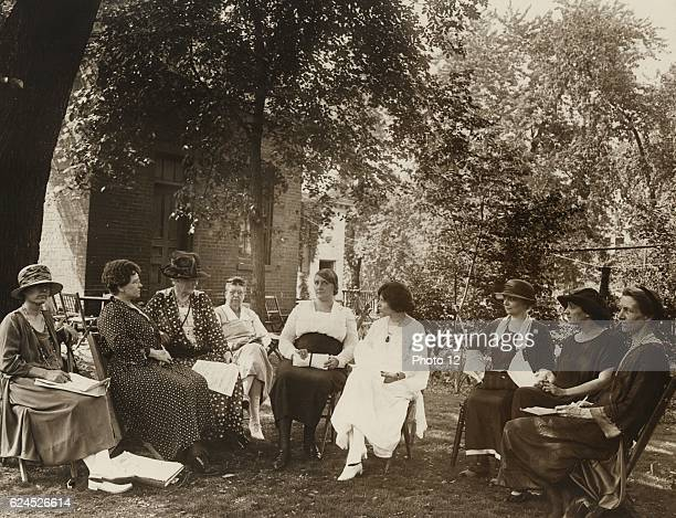 Photograph of National Woman's Party council members_1924 Left to Right Dora Ogle Mrs JD Wilkinson Dora Lewis Lavinia Egan Edith Ainge Alice Paul...
