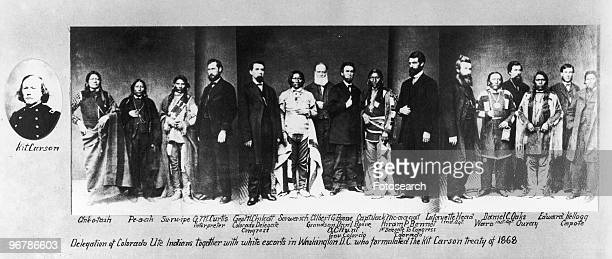 A Photograph of Native Americans with White Americans who Formulated the Kit Carson Treaty in Washington circa 1868