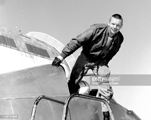 Photograph of Neil Armstrong in the cockpit of the Ames Bell X-14 airplane at NASA's Ames Research Center, Moffett Field, California, 1955. Image...
