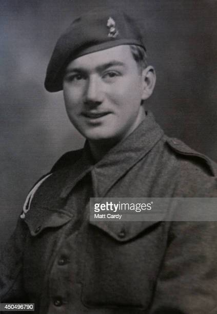 A 1944 photograph of Normany veteran 90yearold Eddie Wallace is seen at the DDay Museum at Southsea seafront on April 10 2014 in Portsmouth England...