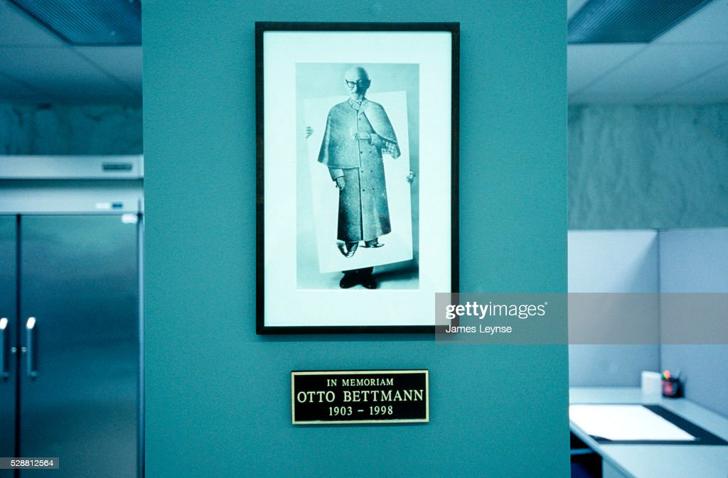 A photograph of Otto Bettmann adorns a wall at the Corbis Film Preservation Facility, located in an Iron Mountain underground storage facility in Pennsylvania. The 10,000-square-foot Corbis facility houses over 13 million photographic negatives, engravings and prints. The optimal storage conditions -- below zero degrees Fahrenheit and low humidity -- will ensure that the historically valuable collection will last hundreds of years, while remaining readily accessible. The move was necessary due to the high level of deterioration of the material, which includes the Bettmann collection and the UPI archives.