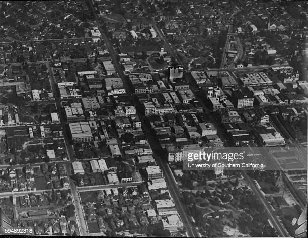 Photograph of Pasadena from a US Army observation balloon, Pasadena, California, 1919.