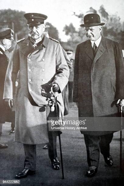 Photograph of Paul Von Hindenburg and Theodor Lewaldat meeting regarding the 1932 Olympics held in LA Paul Von Hindenburg a German military officer...