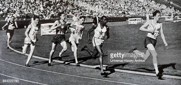 Photograph of Phil Edwards in the 800 meter race in the 1932 Olympic games Edwards competed in the 1932 Summer Olympics in Los Angeles and in the...