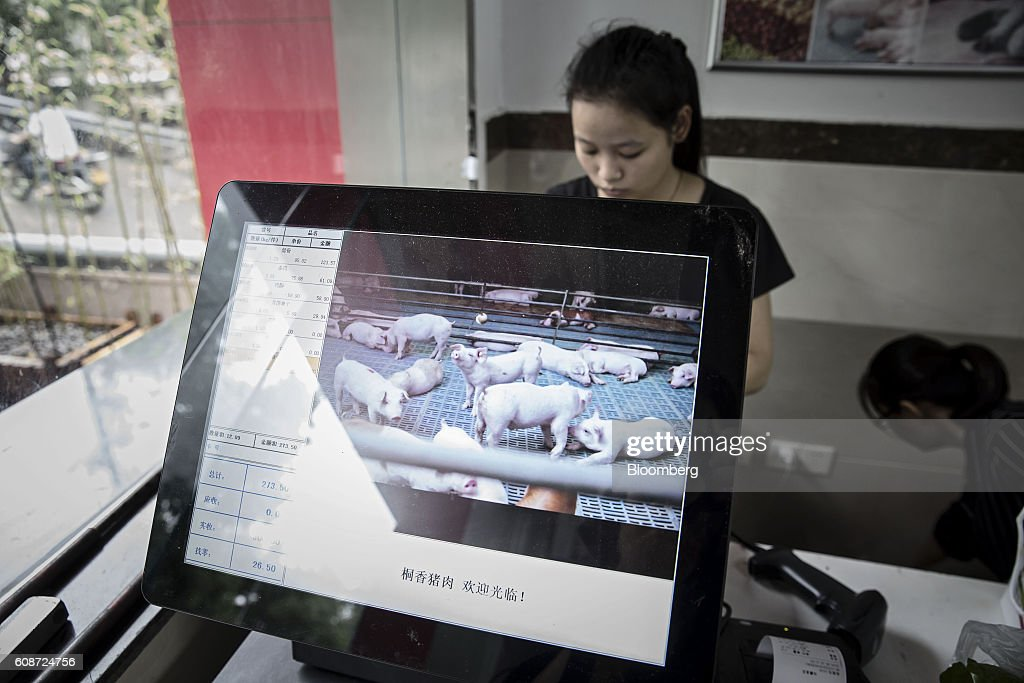 A photograph of pigs is displayed on the screen of a cash register at a retail store operated by the Jia Hua antibiotic-free pig farm in Tongxiang, China, on Thursday, Sept. 15, 2016. Hog farmer Shen Jian-Ping has spent 4.7 million yuan ($700,000) giving his swine roomier, better-ventilated digs and there are three full-time veterinarians to help keep the 465-sow herd healthy. Photographer: Qilai Shen/Bloomberg via Getty Images