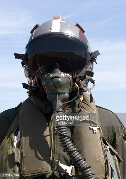 Photograph of pilot in full gear