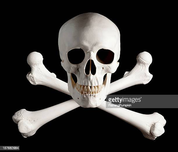 photograph of pirate skull and crossbones. - human skull stock pictures, royalty-free photos & images