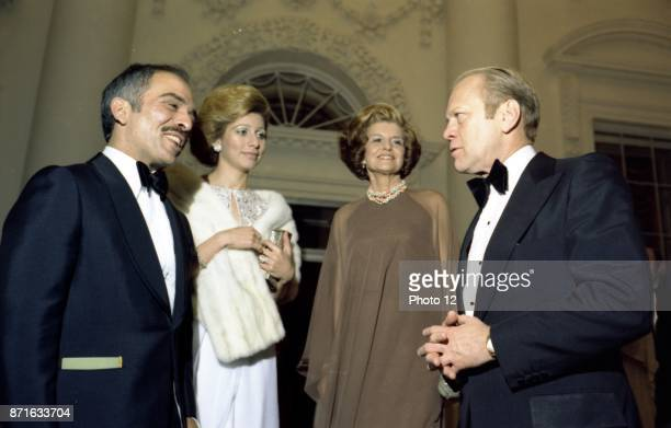 Photograph of President Gerald Ford First Lady Betty Ford with Queen AliaalHussein and King Hussein of Jordan Dated 1976