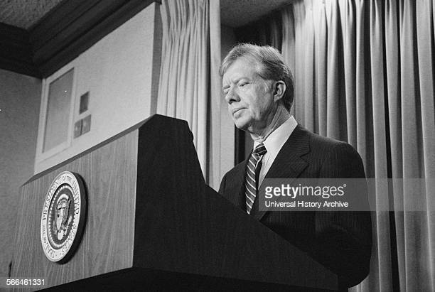 Photograph of President Jimmy Carter announcing new sanctions against Iran following the taking American hostages Photographed by Marion S Trikosko...