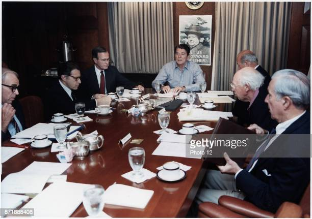Photograph of President Ronald Reagan holding a National Security Council Meeting on the TWA hijacking in the Situation Room in the White House Dated...