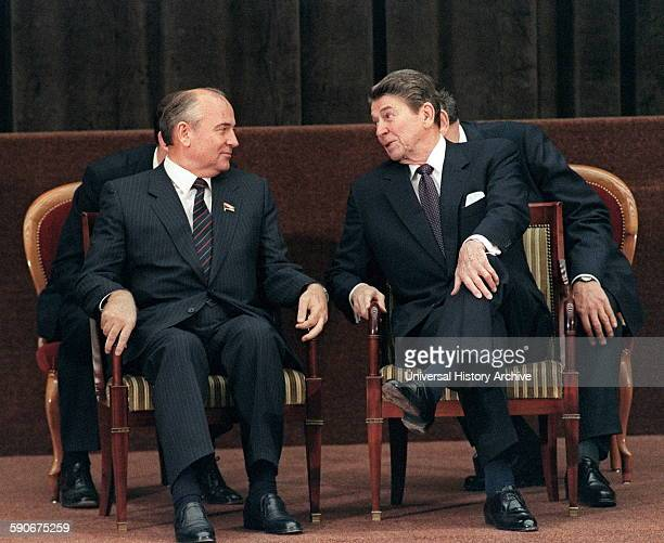 Photograph of President Ronald Reagan talking to Soviet general secretary of the Communist Party of the Soviet Union Mikhail Gorbachev Dated 1985