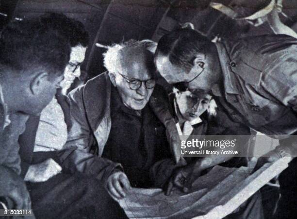 Photograph of Prime Minister David BenGurion meeting with Moshe Dayan during the Suez War 1956 Dated 20th Century