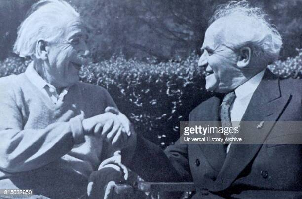 Photograph of Prime Minister of Israel David BenGurion meeting with Albert Einstein at Princeton University New Jersey Dated 20th Century