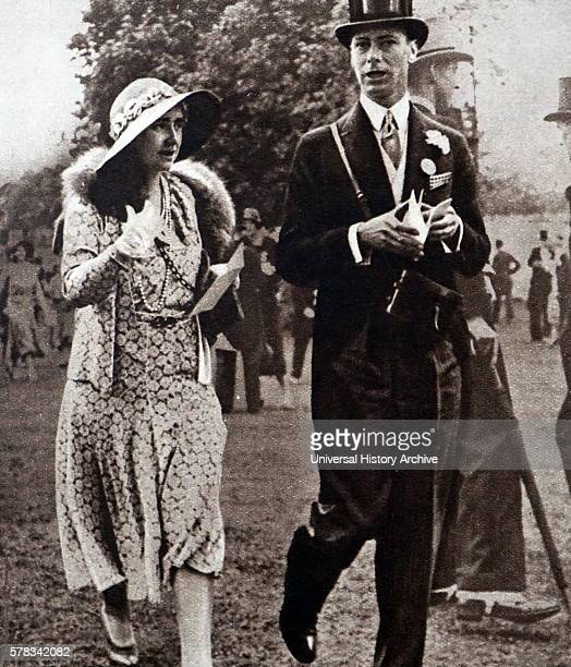 Photograph of Prince Albert Frederick Arthur George and Lady Elizabeth walking on the lawns of Ascot Dated 20th Century