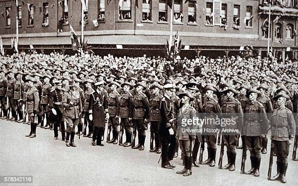 Photograph of Prince Albert Frederick Arthur George inspecting soldiers on Anzac Day in Melbourne Dated 20th Century