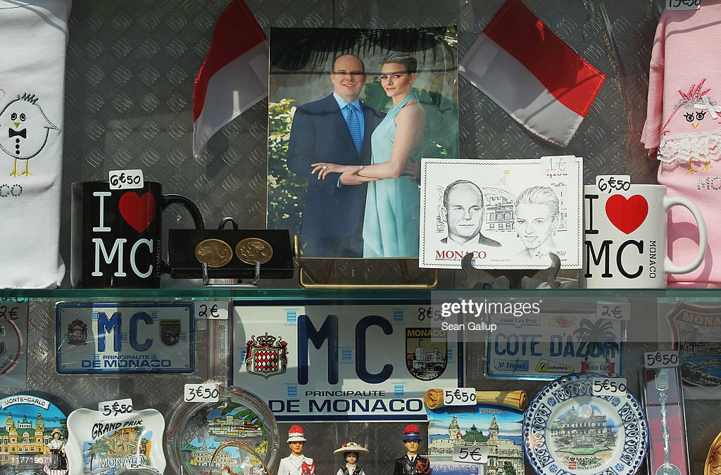 A photograph of Prince Albert II of Monaco and Charlene Wittstock is displayed in a shop ahead of their Royal Wedding on June 30, 2011 in Monaco. The civil ceremony will take place in the Throne Room of the Prince's Palace of Monaco on July 1, followed by a religious ceremony to be conducted in the main courtyard of the Palace on July 2. With her marriage to the head of state of Principality of Monaco, Charlene Wittstock will become Princess consort of Monaco and gain the title, Princess Charlene of Monaco. Celebrations including concerts and firework displays are being held across several days, attended by a guest list of global celebrities and heads of state.