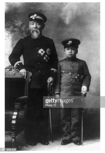 Photograph of Prince Ito Hirobumi of Japan Japanese statesman four time Prime Minister of Japan ResidentGeneral of Korea and Crown Prince Yi Un of...
