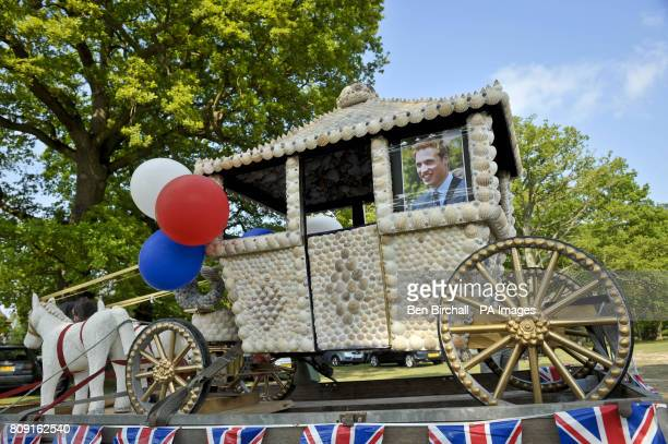 A photograph of Prince William looking out of a miniature horsedrawn carriage created by Les Pocklington from Long Lane Newbury