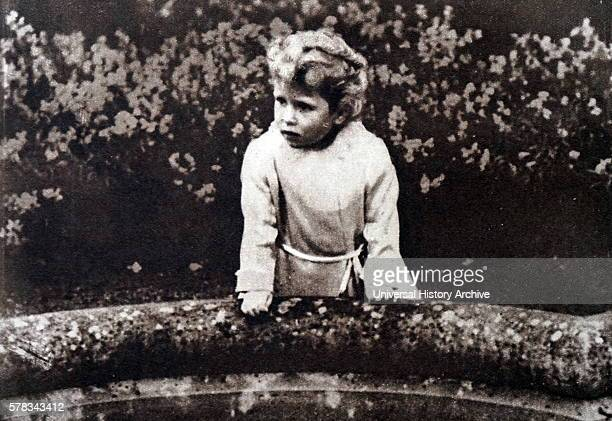 Photograph of Princess Elizabeth in the garden at Glamis Castle Dated 20th Century