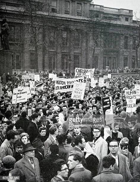 Photograph of protesters in Trafalgar Square against the Sharpeville Massacre where the South African Police opened fire on the crowd of protesters...