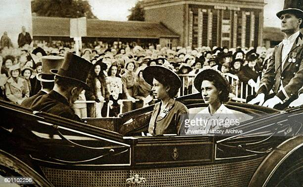 Photograph of Queen Elizabeth II and Princess Margaret arriving at Ascot Dated 20th Century