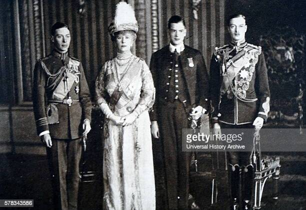 Photograph of Queen Mary of Teck The Duchess of York with her sons Albert Frederick Arthur George Prince Henry Duke of Gloucester and Prince George...
