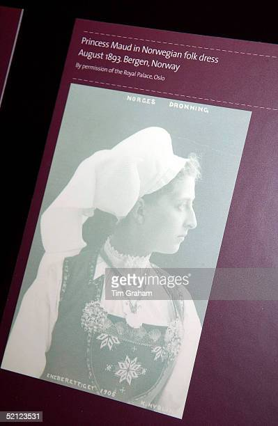 A photograph of Queen Maud on display at the 'Style and Splendour Queen Maud of Norway's Wardrobe 18961938' exhibition at the Victoria and Albert...