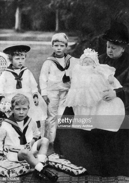 Photograph of Queen Victoria sitting with her Great Grandchildren Dated 19th Century