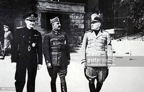Photograph of Ramon Serrano Su̱er General Francisco Franco and Benito Mussolini meeting in Bordighera Italy Dated 20th Century