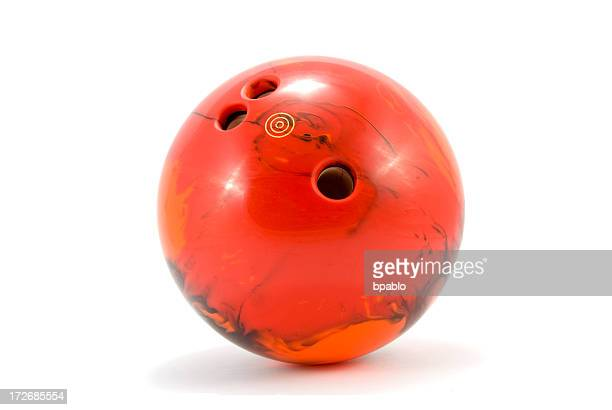 Photograph of red marbled bowling ball
