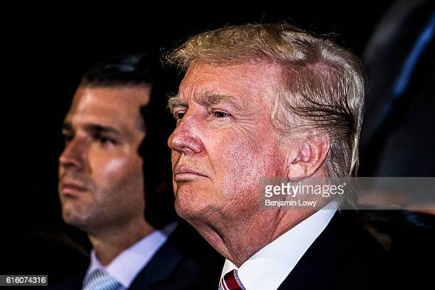 Photograph of Republican presidential candidate Donald Trump on the floor of the Republican National Convention in Cleveland Ohio on Wednesday July...