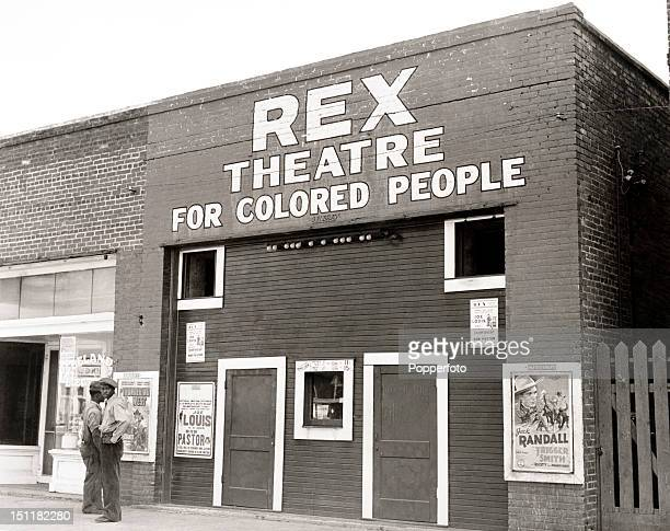 A photograph of Rex Theatre for Colored People in Leland Mississippi circa November 1939 taken by Marion Post Wolcott a noted American photographer...