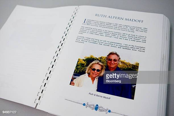 A photograph of Ruth and Bernard Madoff appears in the catalog from the 50year reunion of 1958 class of Far Rockaway High School displayed for a...
