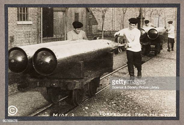 A photograph of sailors moving torpedoes taken by an unknown photographer in about 1916 This photograph is from an album entitled 'Britain Prepared'...